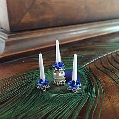 Dolls House Dollhouse 1:12 Miniature Fancy Candle Holders Candlesticks Blue Rose