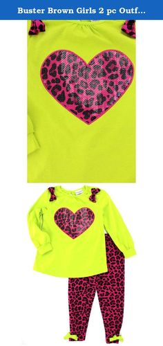 """Buster Brown Girls 2 pc Outfit Top Leggings Set (3T, Lime/Pink Cheetah Heart). Your little sweetie will be looking lovely in one of these Buster Brown outfits. Each of these darling Buster Brown top and leggings sets features unique details and style, like sequins, glitter, and ruffles! Choose from styles like a cute Scotty dog, an """"I love shopping"""" purse, or cheetah print and hearts. The perfect outfit for any pretty young lady! Choose your favorite or collect them all!."""