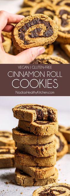 Vegan Gluten-free Cinnamon Roll Cookies - My list of the best food recipes Cookies Sans Gluten, Dessert Sans Gluten, Bon Dessert, Gourmet Cookies, Healthy Cookies, Yummy Cookies, Vegan Cookie Recipe, Vegan Gluten Free Cookies, Super Cookies