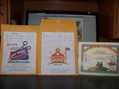 My 2011 and 2012 collection folders that is returned to me monthly by our teachers and my Outstanding Contribution Award Certificate for the 6 monthly classroom winners.