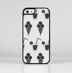 The Black and White Icecream and Drink Pattern Skin-Sert for the Apple iPhone 5-5s Skin-Sert Case