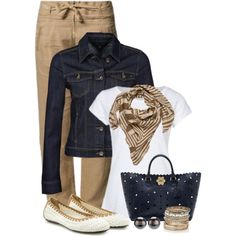 Khaki and Blue by wishlist123, via Polyvore