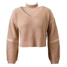 4 Colors Knitted Crop Top Sweater Jumper Pullover Long Sleeve Zipper Slit Loose Casual Oversized Women Autumn Fall