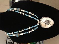 Tibetan pendant... Dyed coral, limestone, Tibetan findings...$150...