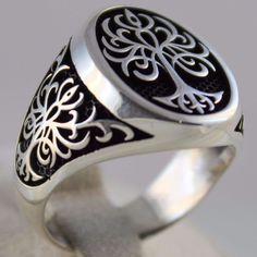 Turkish Handmade Ottoman Statement 925 Sterling Silver Tree of life Men's Ring #Handmade #Statement