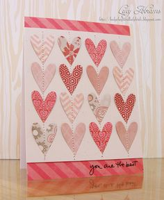 Spotted and Admired: Love this sweet card by Lucy Abrams! How she created the pattern with the hearts is so awesome! The words from the Smooch by Ali Edwards set compliment her card so nicely. Great card, Lucy!