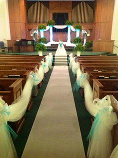 Teal church wedding  by Elegant Happenings