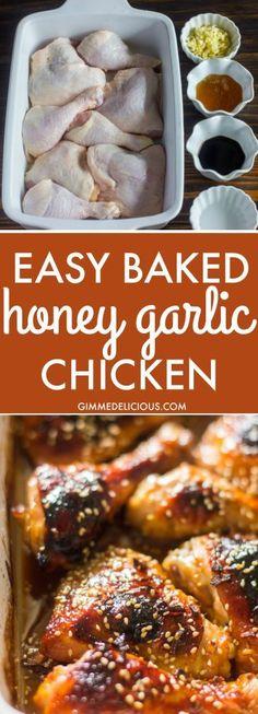 Easy Baked Honey Garlic Chicken chicken recipes for dinner Turkey Recipes, Meat Recipes, Dinner Recipes, Cooking Recipes, Healthy Recipes, Pasta Recipes, Cooking Ribs, Dinner Ideas, Chicken