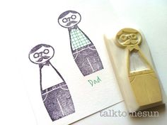 family rubber stamp. hand carved by talktothesun. available at www.talktothesun.etsy