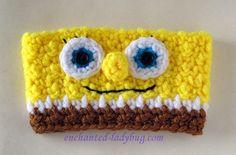 Free Crochet Spongebob Coffee Cup Cozy pattern by The Enchanted Ladybug