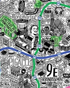 close-up of the Montmatre and in the beautifully hand drawn map of Paris by Jenni Sparks available at Illustration Parisienne, Paris Illustration, Graphic Design Illustration, Plan Ville, Nyc Subway Map, Plan Paris, Brighton Map, Metro Map, Asia Map