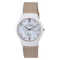 Skagen Women's Quartz Ceramic Mother-Of-Pearl Dial Watch Skagen Watches, Discount Watches, Best Watch Brands, Mesh Bracelet, Steel Mesh, Casual Watches, Quartz Watch, Gold Watch, Swarovski Crystals