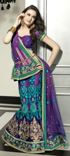 Lehenga-purple/violet and teal with gold belt