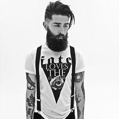 chris john millington full thick dark beard beards bearded man men mens style stylish tattoos tattooed tattoo undercut suspenders handsome #beardsforever