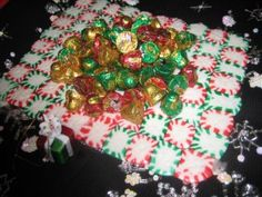 mint candy tray--gree ones melt faster than red ones but works well. Made place cards.