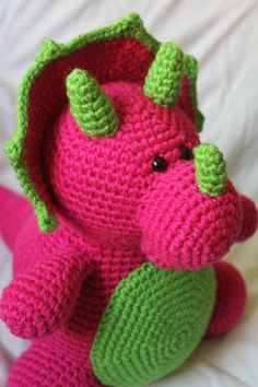 Tina the Triceratops - Amigurumi Plush Crochet PATTERN ONLY (PDF)