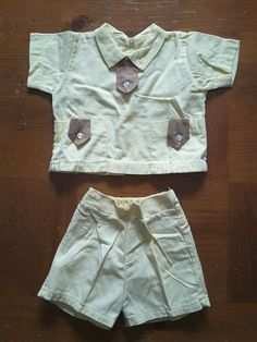 Shirt Shorts 2 pc Outfit Yellow Brown Toddler Boys Vintage #SpecialOccasion