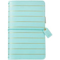Webster's Pages - Webster's Pages Color Crush Faux Leather Travelers' Notebook Planner - Blue with Gold Stripe