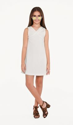 The Lilia Dress Ivory stretch crepe knit shift dress fully lined with twist detail at front neck Tween Event & Party Dresses Cotillion Dresses, Graduation Dresses, Holiday Party Dresses, Wedding Party Dresses, Girls Short Dresses, Dresses For Work, Cute Girl Outfits, Outfits For Teens, Bat Mitzvah Dresses