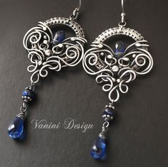 The Crown  Fine/sterling silver and kyanite earrings by vanini, $237.00