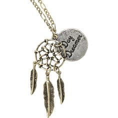 Dreamcatcher Day Dreamer Necklace | Hot Topic ($5) ❤ liked on Polyvore featuring jewelry, necklaces, gold tone necklace, gold tone jewelry, chain necklace, chains jewelry and gold tone chain necklace