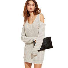 Bella Ripped Shoulder Knit Sweater Dress - Tan