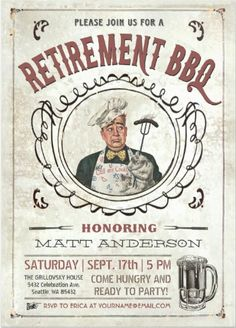 Shop Retirement BBQ Invitations created by Anything_Goes. Retirement Party Invitations, Retirement Parties, Bbq Party, Party Fun, Best Bbq, Vintage Invitations, Throw A Party, Backyard Bbq, White Elephant Gifts