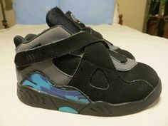 03735c8e0947e6 Toddler Size 9 AIR JORDAN VIII Retro Black Aqua 305360-025 CLEAN!  fashion