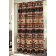 Carstens Inc. Autumn Trails Deer And Bear Rustic Cabin Shower Curtain