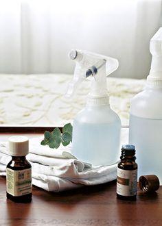 DIY linen misters: Distilled water, spray bottle, essential oil.