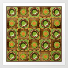 Brown, Green, and Orange Floral Pattern Art Print by tsuttles - $16.00