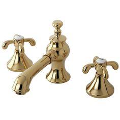 Kingston Brass Tear Drop Cross 8 in. Widespread 2-Handle Mid-Arc Bathroom Faucet in Polished Brass