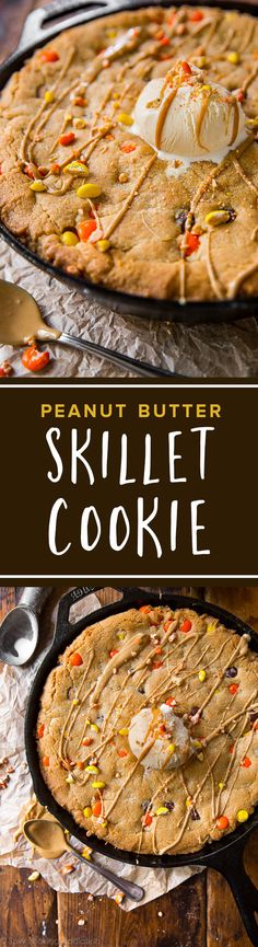 Giant peanut butter skillet cookie meant for digging in! Or bake as mini skillet cookies for an even quicker treat. Recipe on sallysbakingaddiction.com