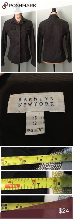 "Barneys New York black jacket! Barneys New York black jacket! Great condition; some slight fading. Fabric is cotton and coat is unlined. Sizing is Italian and according to The Barneys site, Italian size 42 converts to a US size 6. Please refer to my approximate flat measurements for more info: bust 19"", waist 17.5"", length 26.75"". I don't trade. Reasonable offers welcome. Thanks! 😊 Barneys New York Jackets & Coats"
