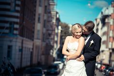 Wedding portrait in the sunny city