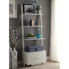 Leaning Ladder Bookcase Drawer Bookshelf Shelves Contemporary Wall Shelf White