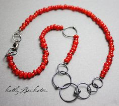 Red Beaded Necklace-Handmade Red Glass Beaded Necklace-Red Bead and Silver Necklace-Valentines Day Necklace