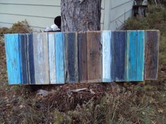 Reclaimed Old Barn wood Headboard Abstract Painting on Wood Rustic Shabby chic Salvaged wood Art Rustic decor Wall hanging on Etsy, $250.00