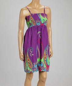 Look what I found on #zulily! Purple & Green Paisley Empire-Waist Dress by Aryeh #zulilyfinds