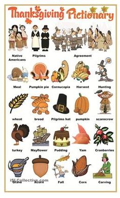 This is a pictionary to help students learn Thanksgiving vocabulary. Hope you like it!  - ESL worksheets