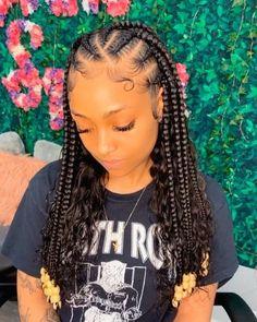 Feed In Braids Hairstyles, Box Braids Hairstyles For Black Women, Braids Hairstyles Pictures, Black Girl Braided Hairstyles, Baddie Hairstyles, Braids For Black Hair, Hair Pictures, Protective Hairstyles, Protective Styles