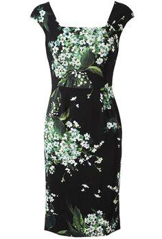 Black Cap Sleeve Floral Printed Crepe Dress