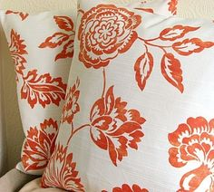 Pretty design in orange #pillow