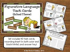 Students can have fun practicing similes, metaphors, alliteration, onomatopoeia, personification, and idioms with these poetry task cards. Forty figurative language task cards are included as well as a recording sheet (in both color and black/white) and an answer key. ($)