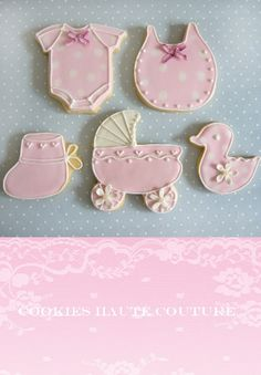 Baby Shower Cookies~     By Tartas Cakes Haute Couture, Pink, Buggy, bootie, duckie, Bib, onesie