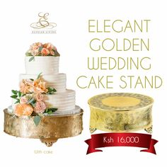 If you're looking for the perfect wedding cake stand for your wedding, look no further and purchase this elegant golden wedding cake stand now! Its simplicity and elegance are matched with a heavy gauge to withstand heavy cakes. The 14-inch wide stand has a gold finish ornate design. So what are you waiting for? Order now!  Call us at 07 01287036 | 07 01051001 or email us at info@elysianlivingdesigns.com. Visit our websitewww.elysianlivingdesigns.com