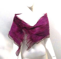 Black Magenta Silk Wool Scarf Nuno Felt Wrap by juliaheartfelt, $69.00