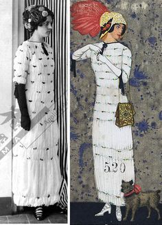 Dress, Eduard Josef Wimmer-Wisgrill for the Wiener Werkstätte, Vienna, 1911. Shirred white crêpe de Chine with fabric roses; hat. Postcard showing the dress by Mela Koehler. MAK and Candy Ping Pong blog