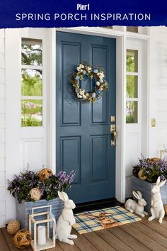 Give your guests a warm, seasonal welcome with spring porch decor! It's all about faux flowers, lanterns, bunny decor and, Front Door Colors, Front Door Decor, Front Yard Design, Best Decor, Spring Home Decor, Painted Doors, Decoration Table, Decor Diy, Faux Flowers