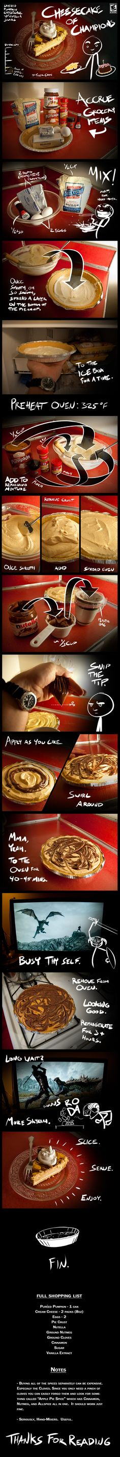 yum! pumpkin nutella cheesecake.  maybe this cute diagram will get the kids to make some! :D